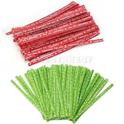 100 pcs 90*4mm Paper Twist Ties for Bakery Candy Cello Bags