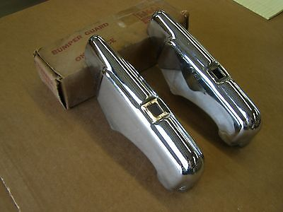 NOS OEM Ford 1942 Super Deluxe Rear Bumper Guards Pair Chrome Trim