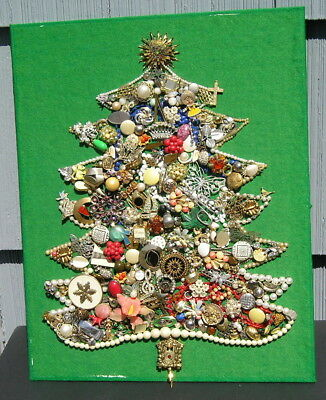 Antique Vintage Jewelry Christmas Tree Mid Century Moderm Pins Pearls Glitz