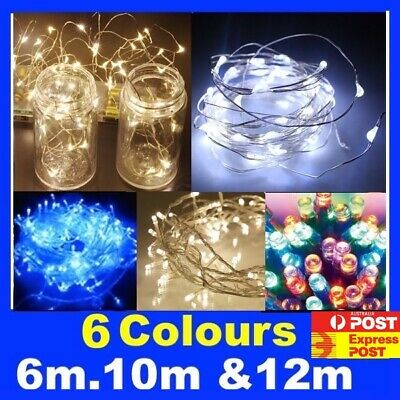12M Or 6M Battery Operated String Fairy Lights Cool Warm White Blue Red Green
