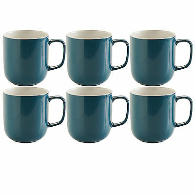 Set Of 6 Teal Blue Stoneware 14oz Tea Coffee Latte Hot Chocolate Drinks Mugs Cup