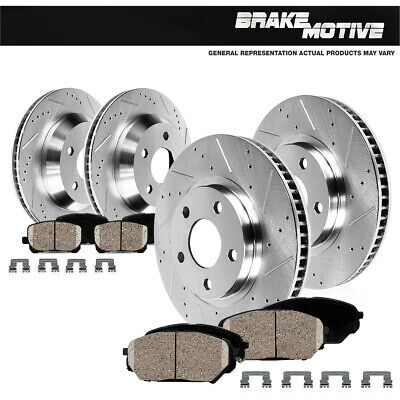 Front & Rear Drilled Slotted Brake Rotors & Ceramic Pads Kit TSX Accord EX EX-L