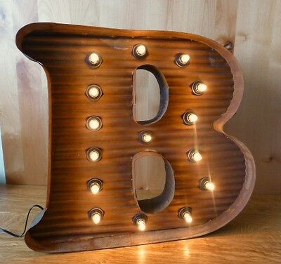 "LG BROWN VINTAGE STYLE LIGHT UP MARQUEE LETTER B, 24"" TALL novelty rustic sign"