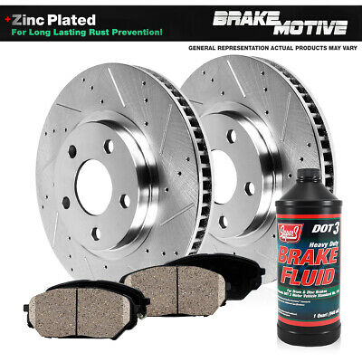 FRONT Drill And Slot BRAKE ROTORS /& CERAMIC Pads For Expedition Navigator