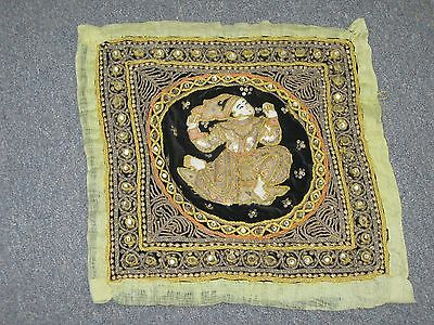 "Vintage Kalaga Myanmar Burma Hand Embroidery Tapestry Sequin Work 15"" Square"