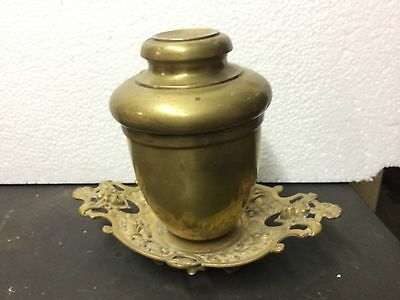 Unusual  Vintage Solid  Brass Cigar Tobacco Humidor Ornate Faces