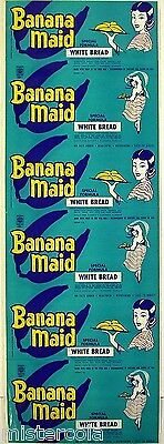 Vintage bread wrapper BANANA MAID with woman Parsons Kansas unused new old stock