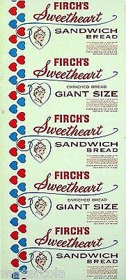 Vintage bread wrapper FIRCHS SWEETHEART with girl Erie PA unused new old stock