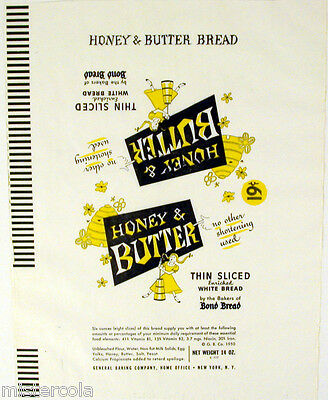 Vintage bread wrapper HONEY AND BUTTER from 1950 girl beehive Bond new old stock