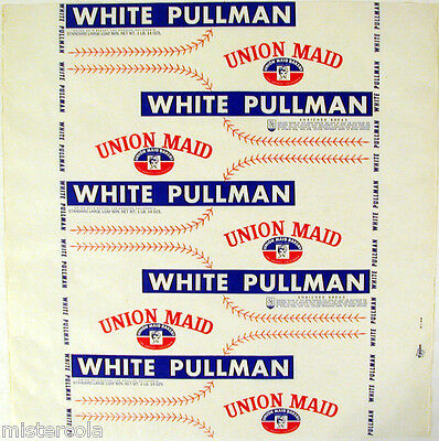 Vintage bread wrapper UNION MAID WHITE PULLMAN Feinberg Bros Los Angeles n-mint