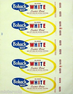 Vintage bread wrapper BOHACK BEST WHITE Brooklyn NY unused new old stock n-mint
