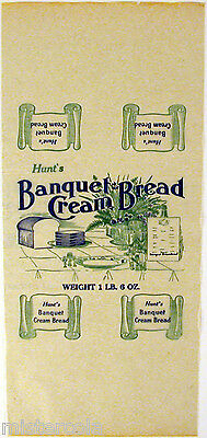 Vintage bread wrapper HUNTS BANQUET CREAM BREAD table pic unused new old stock