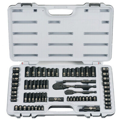 New Stanley 92-824 69 Piece Black Chrome Deluxe Socket Tool Set Kit With Case