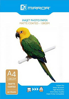 50 x A4 Sheets 128GSM Matte Coated Photo Paper for Inkjet Printers by Mirror