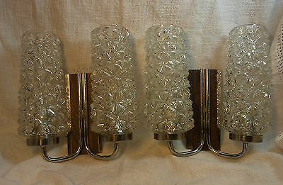 Pair Mid Century Chrome Wood Glass Wall Lamps Mirror Sconces #<