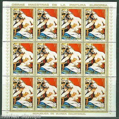 Equatorial Guinea Nude Paintings Sheet Set Containing 12  Of The Same Stamp