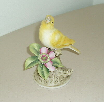 Vtg CANARY by Andrea 8627 Bird Statue Figurine Yellow Flower Made In Japan