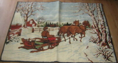"""VINTAGE PRIMATIVE RUG 40""""x54"""" DRAFT HORSE BOBSLED SLEIGH Made in Belgium"""
