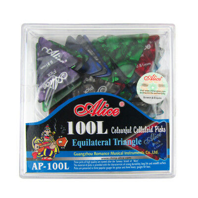 Pack of 100pcs Celluloid Guitar Picks Big Triangle Picks 0.46-0.81mm with Box