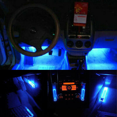 4in1 Interior Atmosphere Car Stage Floor Dash Decorative Lamp LED Light Blue