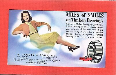 Ink Blotter,Miles of Smiles on TIMKEN BEARINGS Jacoby & Sons,Brooklyn New York