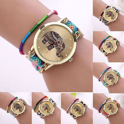 Women Girl Handmade Weaved Braided Elephant Bracelet Dial Quarzt Watch Trendy