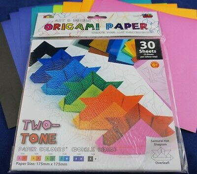 30 Sheets ORIGAMI PAPER Double Sided Two Tone Multi Colour Pack 17.5cm x 17.5cm