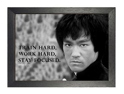 bruce lee 3 motivational quote print determination photo black white poster