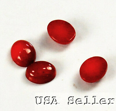 8x6x4mm Red Coral Oval Cabochon 4pcs(EPD01)a