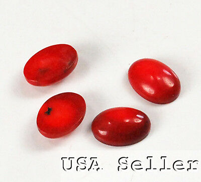 12x10x4mm Red Coral Oval Cabochon Beads 4pcs(EPD04)a