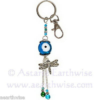 EVIL EYE TALISMAN KEY RING DRAGONFLY Wicca Pagan Witch Goth Spell PROTECTION