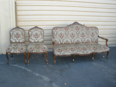 48007  3 piece French Sofa Couch Chair Bergere Parlor set