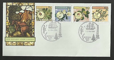 AUSTRALIA 1986 JAMES COOK VOYAGE New Holland FLOWERS KURNELL PICTORIAL FDC