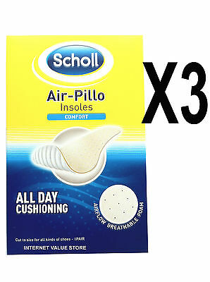 3 X Scholl Air Pillo Comfort Insoles. All Day Cushioning, Washable. Good Value