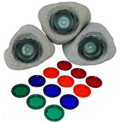 Underwater Submersible Pond and Garden Rock light set of 3 Lights and lenses