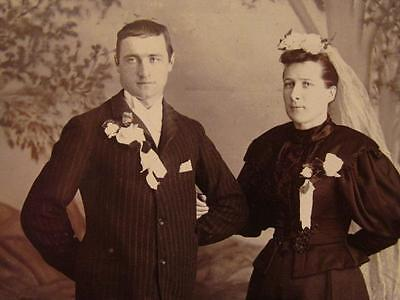 Fred Umbach Acton Antique Cabinet Photo Bride & Groom wearing Chest Ribbons