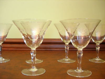 SIX  VINTAGE ETCHED SHERBET GLASSES  Very Delicate