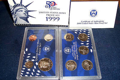 1999 US MINT  9 COIN CLAD PROOF SET with BOX & COA