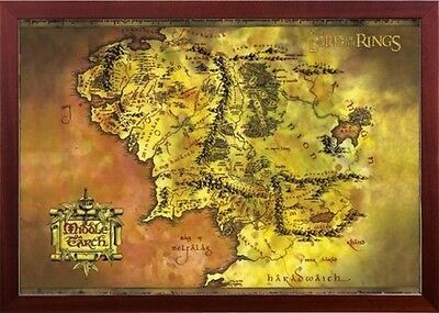 Framed Lord of the Rings Middle Earth Map Premium Brown Finished Wood