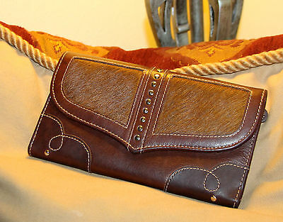 Beautiful Soft Vintage Designer Wallet - Brown Leather And Pony Hair