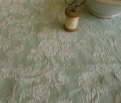 Antique French Early 1900  Soft Green Shabby Roses Scroll Damask Ticking Fabric