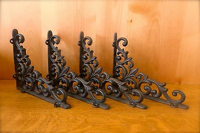 "4 BROWN ANTIQUE-STYLE 9"" CAST IRON SHELF BRACKETS garden wall VINE FLEUR DE LIS"