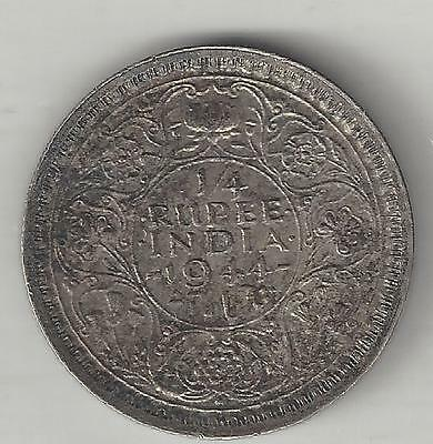 INDIA, BRITISH, 1944 (b) DOT,  1/4 RUPEE,  SILVER,  KM#547,  EXTRA FINE