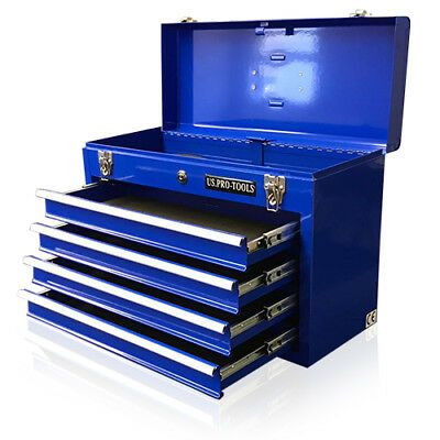 44 US Pro Tools Blue Top steel Tool Box Chest Cabinet storage mobile  4 DRAWER