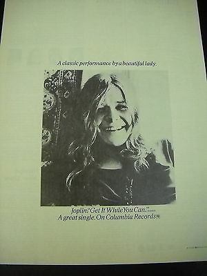 JANIS JOPLIN preserved 1971 PROMO DISPLAY AD Classic performance...Beauty Lady