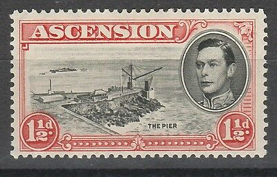 Ascension 1938 Kgvi The Pier 11/2D Variety Davit Flaw Perf 13.5