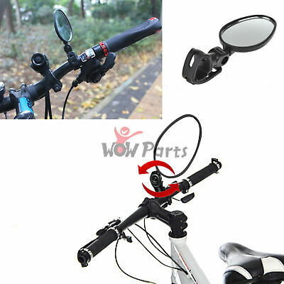 Bicycle Cycling Handlebar Adjustable Flexible Rotate Glass Rear Back-view Mirror