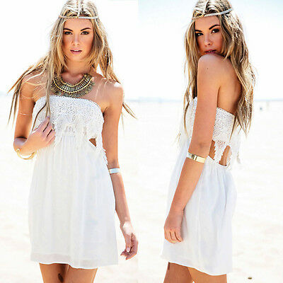 Women's Sexy Lace Strapless Casual Beach Dress Party Cocktail Evening Mini Dress