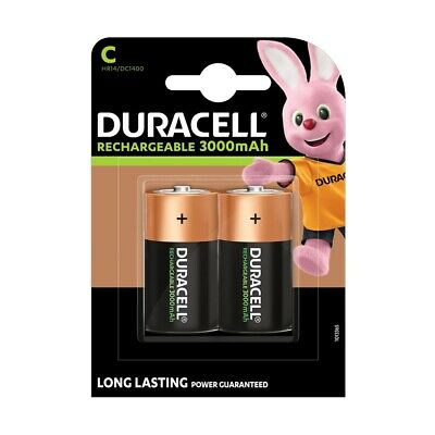 2 Pack Duracell Rechargeable C Cell HR14 / MN1400 NiMH Batteries 2200mAh