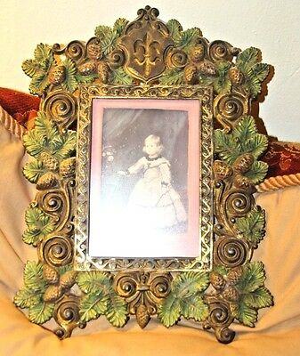 Rare Antique Bradley Hubbard Cast Iron Pinecone Leaf Picture Frame